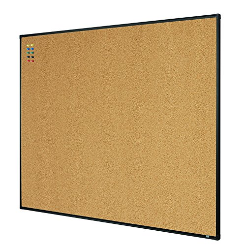 Lockways Bulletin Cork Board - 4 x 3 Notice Message Board 36 x 48 - Black Aluminium Frame U12118782709 for Home, School & Office (Set Including 10 Push Pins)(48