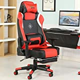 Cheap GreenForest Office Gaming Chair Ergonomic Computer Chair Tilting Lock Function PU Leather High Back Headrest Footrest and Lumbar Pillow, Red