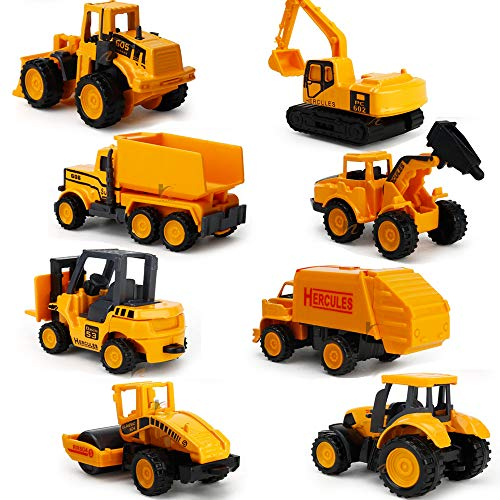 EASTiii Die-cast Construction Truck Vehicle Car Toy Set Play Vehicles in Carrier Truck, , Baby Educational Toys Gift Boys Girls Children Over 3 Years Old (8 pcs) from EASTiii