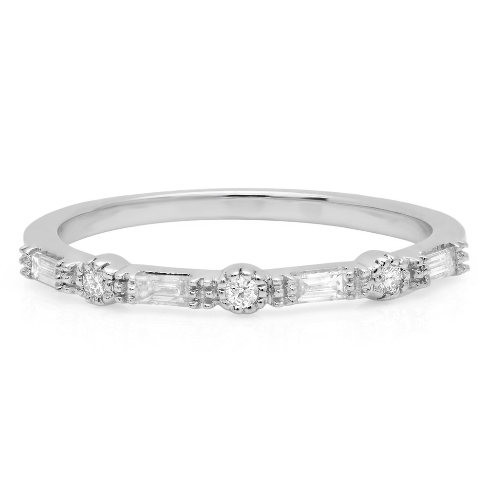 0.15 Carat (ctw) 10K White Gold Round & Baguette Diamond Ladies Anniversary Wedding Band (Size 7.5) by DazzlingRock Collection (Image #3)