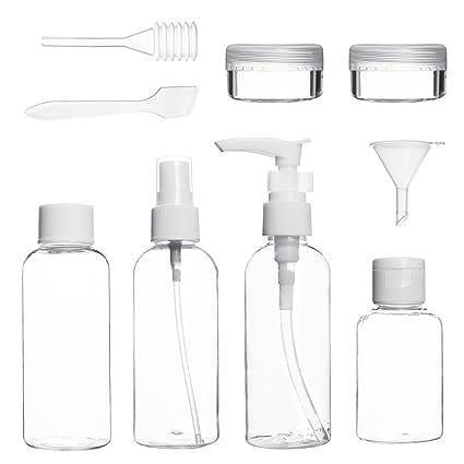 ZhongYeYuanDianZiKeJi Set de Botella de Viaje de Plástico Transparente de Líquido Cosmético Contenedor de Avión de
