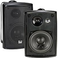 Dual Electronics LU43PB 4 inch 3-Way High Performance Indoor, Outdoor & Bookshelf Studio Monitor Speakers with Swivel Brackets & 100 Watts Peak Power