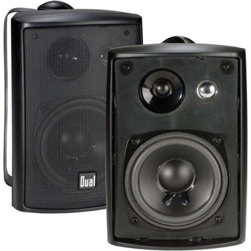 speakers small. dual electronics lu43pb 4 inch 3-way high performance indoor, outdoor \u0026 bookshelf studio monitor speakers with swivel brackets 100 watts peak power (sold small
