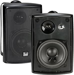 Dual Electronics LU43PB 3-Way High Performance Outdoor Indoor Speakers with Powerful Bass   Effortless Mounting Swivel Brackets   All Weather Resistance   Expansive Stereo Sound Coverage   Sold in Pairs