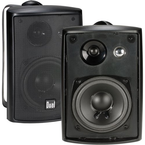 - Dual Electronics LU43PB 3-Way High Performance Outdoor Indoor Speakers with Powerful Bass | Effortless Mounting Swivel Brackets | All Weather Resistance | Expansive Stereo Sound Coverage | Sold in Pairs