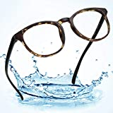 LifeArt Plastic Blue Light Blocking Glasses,Oval Computer Reading Glasses,Transparent Lens,Reduce Headaches&Eyestrain,Stylish for Women/Men,+0.00(No Magnification)