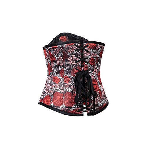 i-glam Rock Floral Brokat Steampunk Stahl Korsett Rot Nc5He9bYF2