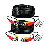 iSmart 2 Packs 125ft Pre-made All-in-One BNC Video and Power Cable with Connector for Surveillance CCTV Security Camera Video System, Black