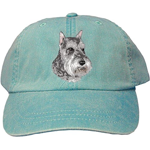 Caps Schnauzer (Cherrybrook Dog Breed Embroidered Adams Cotton Twill Caps - Caribbean Blue - Schnauzer)