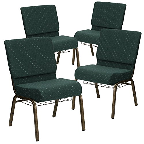 (Flash Furniture 4 Pk. HERCULES Series 21''W Church Chair in Hunter Green Dot Patterned Fabric with Book Rack - Gold Vein Frame)