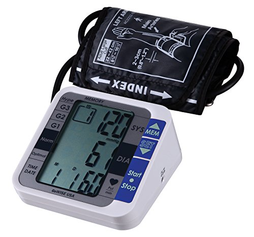 Arm Blood Pressure Monitor - GoWISE USA Digital Upper Arm Blood Pressure Monitor with Hypertension Risk Indicator & Irregular Heartbeat Detection, FDA Approved