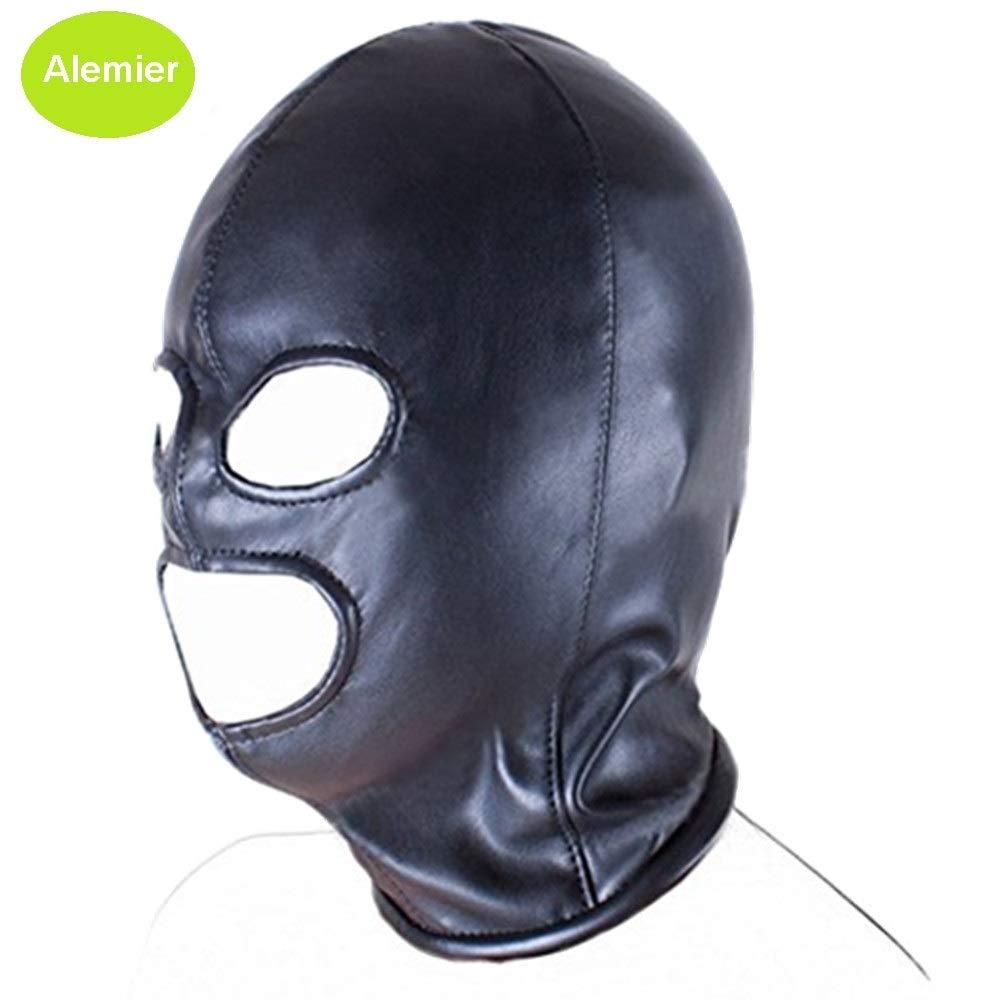 Alemier Unisexe en Cuir PU Masque Cagoule Yeux Ouverts Visage Masque de Couverture Costume Cosplay Couvre-Chef Noir