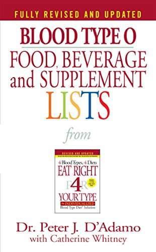 - Blood Type O Food, Beverage and Supplement Lists (Eat Right 4 Your Type)