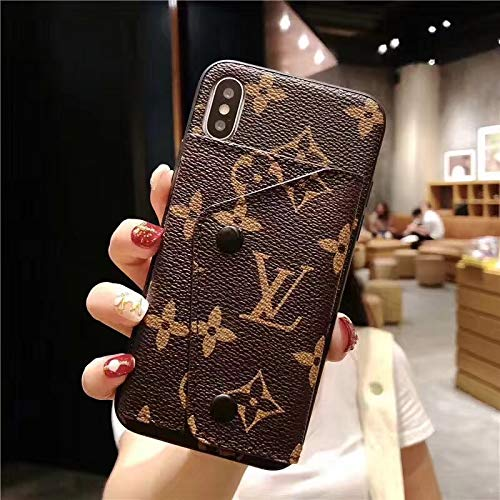 iPhone Xs Max Case, Brown Luxury Vintage Designer Monogram Leather Back Case for iPhone Xs Max