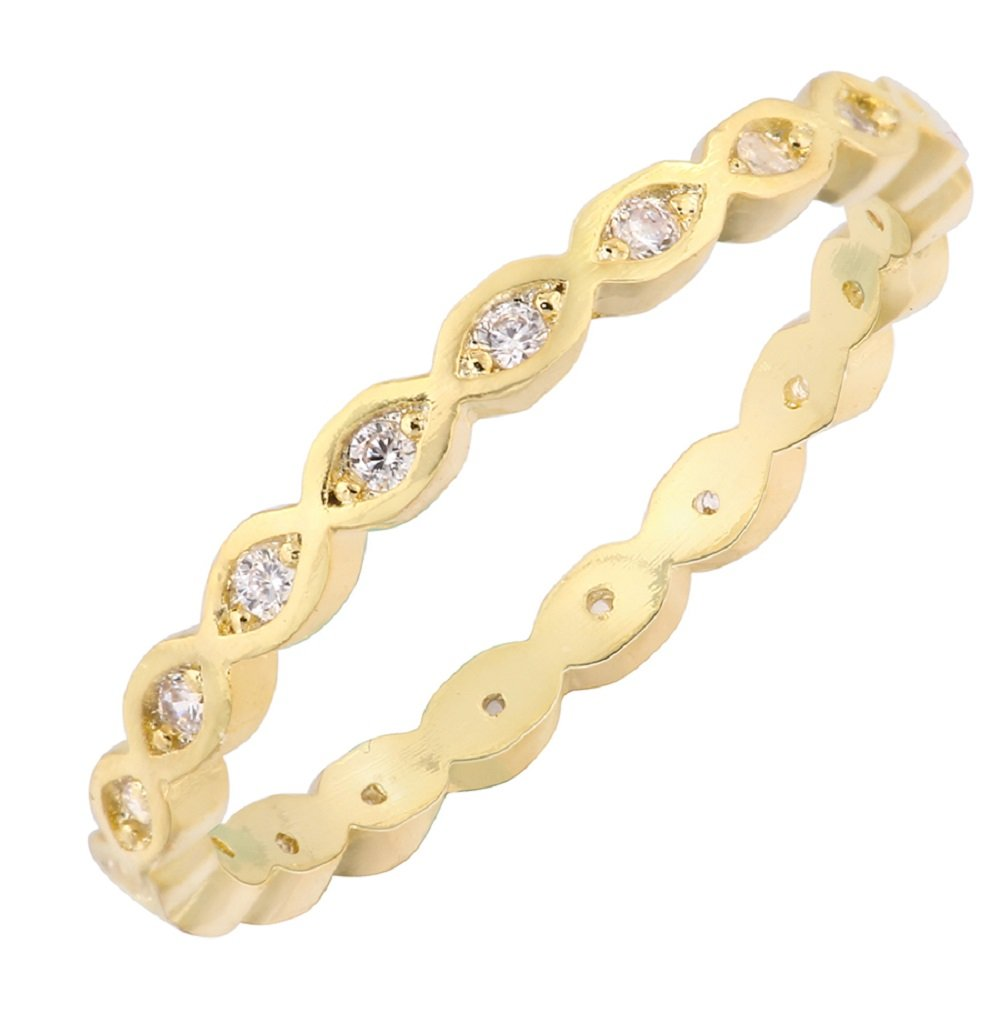 CloseoutWarehouse Cubic Zirconia Stackable Endless Eternity Ring Sterling Silver Yellow Gold-Tone Plated Size 8