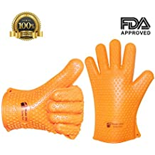 Highest Quality Master Chef Heat Resistant Cooking, Baking, Grilling & BBQ Gloves - Available in 3 Bright Colors (orange)