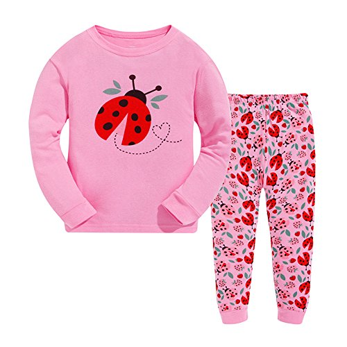 Tkala Fashion Girls Pajamas Children Clothes Set Deer 100% Cotton Little Kids Pjs Sleepwear (4T, Pink1)