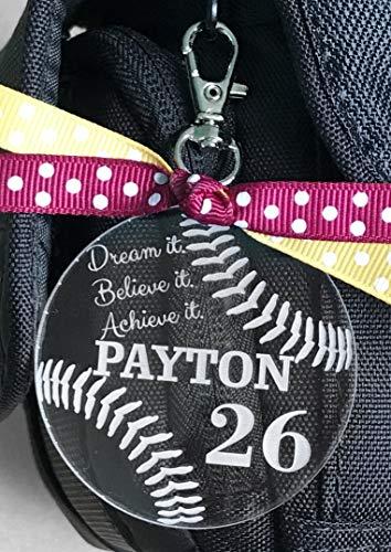 (Softball Bag Tag, Softball Zipper Pull, Softball Gifts, Personalized Softball Gifts, Custom Softball Bag Tag, Girls Softball Team Gift)