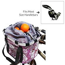 MyGift Multi Purpose Purple Bicycle Basket Carrier/Car Organizer with Drawstring Closure & Top Handles