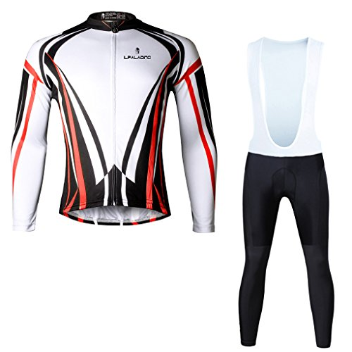 Paladinsport Men's Red Long Sleeve Riding Apparel Breathable Cycling Jersey And Bib Pants Set Size 5XL