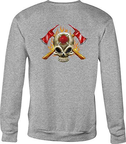 Fire Fighter Crewneck Sweatshirt Maltese Cross for Men or Women - XL Gray