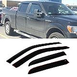 VioletLisa 4pcs Front Rear Smoke Sun/Rain Guard Vent Shade Window Visors for 09-14 Ford F-150 SuperCrew/Crew Cab
