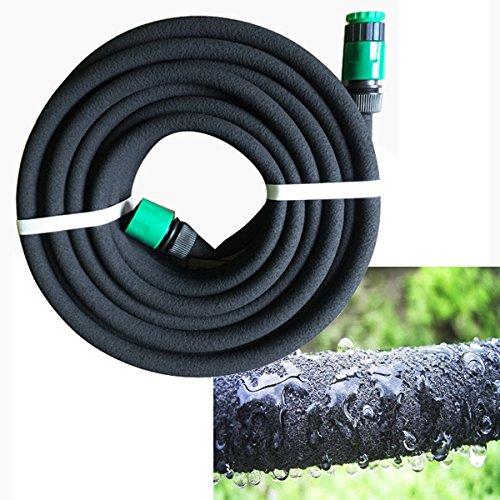Yahee-Tropfschlauch-Perlschlauch-Gartenschlauch-Wasserschlauch-Schlauch-Gartenbrause-Spiralschlauch-15m-Abmessung-12mm-mit-2-Adapter