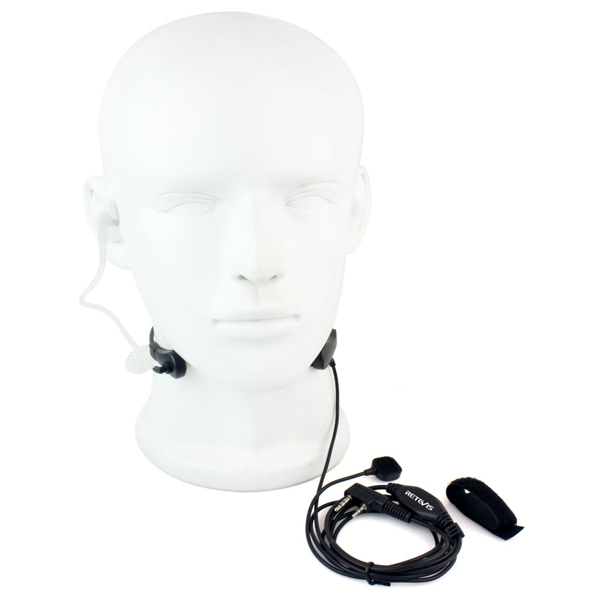Retevis 2 Pin Throat Mic Covert Acoustic Tube Earpiece with PTT Compatible Kenwood Radios Baofeng UV-5R BF-888S Retevis H-777 RT22 RT21 RT7 RT27 TYT Walkie Talkies USC9007A 1 Pack