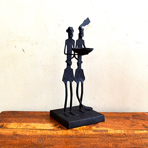 Chinhhari Arts, Indian Decorative Table Decor African Tribal Couple Candle Stand Wrought Iron Handmade Accents by Chinhhari Arts