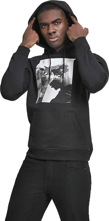 Tupac Herren Kapuzenpullover FCK The World 2Pac Hoodie mit Portrait-Print des Rappers
