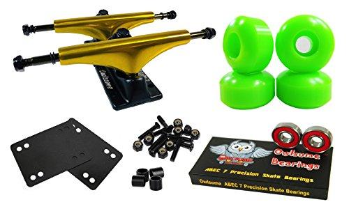 Luxury Alloy Wheels - Owlsome 5.25 Metallic Gold/Black Aluminum Skateboard Trucks w/52mm Wheels Combo Set (Green)