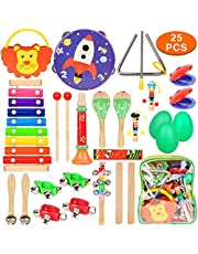 DIY House Baby Musical Instruments Wooden Toy Education Rhythm Percussion Instruments Gift Set for Children Babies Toddlers Kids Early Learning Musical Toys Set with Storage Backpack