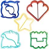 VonShef Fun Cookie Cake and Sandwich Cutter Shapes for Kids, Set of 5 Shapes Dinosaur, Dolphin, Heart, Star and Train, Multi Colored, 5pc