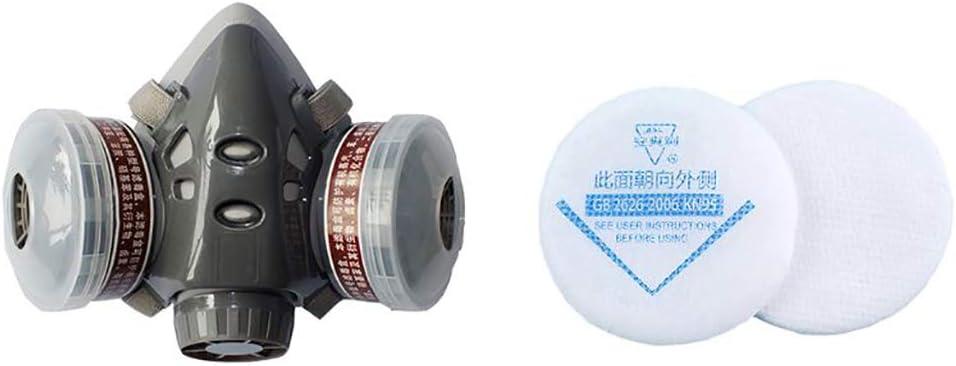 LIfav Máscara De Gas, La Media Cara Mascarilla De Polvo De Gas Máscara para Pintura A Pistola Pesticida Químico Humo De Protección contra Incendios