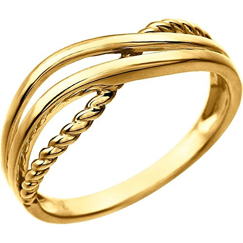 14k Yellow Gold Crossover Rope Ring, Size (14k Yellow Gold Crossover)
