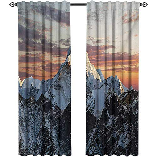 (shenglv Mountain, Curtains Panels, Evening South Asian High Mountain Above The Sky with Colorful Nepal Everest Photo, Curtains for Kitchen Windows, W108 x L108 Inch,)