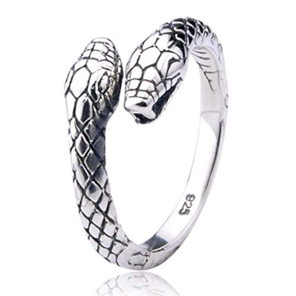 Serpente a doppia testa Anello in argento 925 | regolabile dimensione unisex uomini donne | by Serebra Jewelry DS918239823