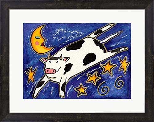 The Cow That Jumped Over The Moon by Wyanne Framed Art Print Wall Picture, Espresso Brown Frame, 21 x 17 inches