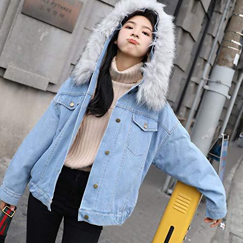 Susenstone À Femme Jeans Ample Vestes Unie Poche Manteau Coats Vintage Blouson Épais Fausse Bleu La Capuche Collier Fourrure En Hiver Chaud Couleur Mode gxwnqr0gp