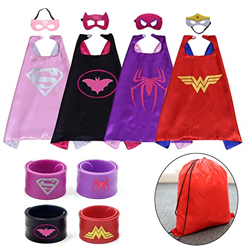 Dress up Costume Girls Superhero Capes and Mask Set 4 Charaters with Drawstring Backpack and Matching Shaped Rubber Wristbands for Kids, Birthday Party Children for $<!--$20.98-->
