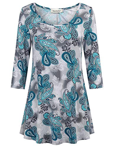 Nandashe Summer Tunics for Work, Spring Floral Printed Cut V Neck Half Sleeve T-Shirts Ladies Stylish Soft Easy Fit Boho Blouses Business Clothes Travel Wear Paisley Clothes Grey Light Blue XLarge ()