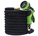 LIERB Garden Hose, Expandable,Heavy Duty,Nozzle with 9 Spray Pattern,Quick Connect,75FT,Black