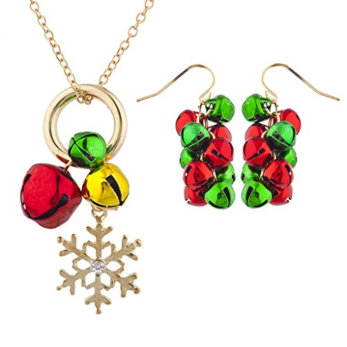 (Lux Accessories Goldtone Red Green Jingle Bells Snowflake Necklace Earring Set)