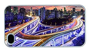 Hipster glitter iPhone 4S cases hong kong skyline night PC White for Apple iPhone 4/4S
