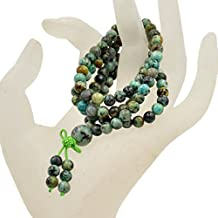 AD Beads Natural Gemstones Buddhist 108 Prayer Healing Beads Mala Stretchy Bracelet Necklace 6mm (African Turquoise)