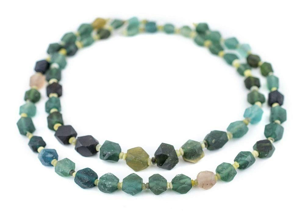 TkThebead Afghanistan Green Faceted Large Hole, Diamond Cut Ancient Roman Glass Beads 9mm