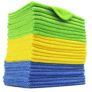 Polyte Microfiber Cleaning Cloth, 12 x 16 in, Blue, Green, Yellow, 24 Pack