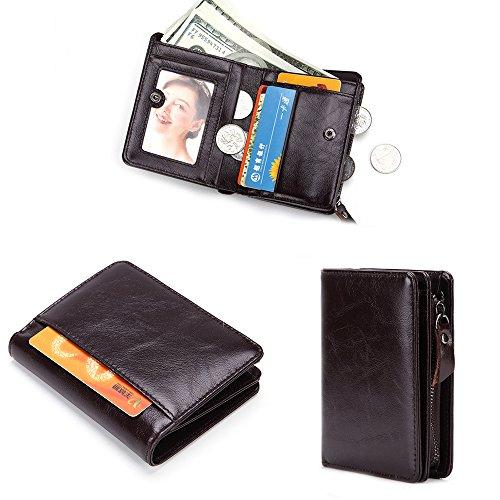 Mens Leather Slim Fold Wallet Zipper Credit Card ID Window Wallet