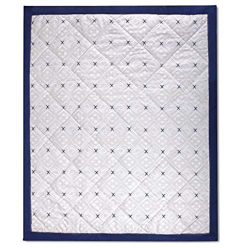 Wendy Bellissimo Super Soft Plush Baby Blanket Reversible Quilt (37x44) - Aztec in Grey/Navy