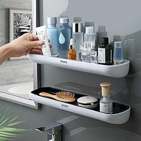 aluminio Espesamiento estanteria ba/ño sin taladro montado en la pared estante para ba/ño para cocina,2 Pack Estanter/ías para ba/ño,adhesivo estanteria ducha con barra de toalla